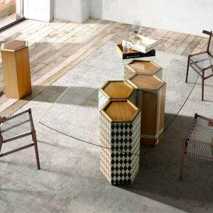 ambiente mesa comedor hexagonal
