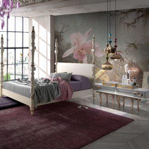 dormitorio con cama sofia y mesillas lux