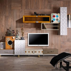 ambiente salon con mueble de tv tetris