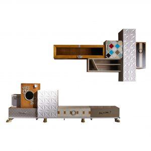 mueble de tv tetris 4 cajones y 6 puertas