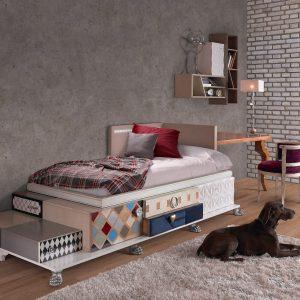 dormitorio con elementos tetris