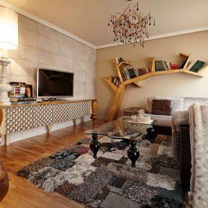 salon con librero tree, aparador botero y mesa dali