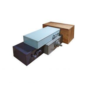 mesa de centro london con acaba de las cajas en azul marino, aguamarina, gris dorado y arena
