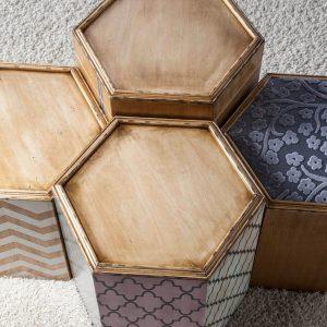 conjunto de mesitas hexagonal desde arriba