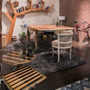 ambiente de mesita octogonal, mesita medina, librero tree y mesa arcadia