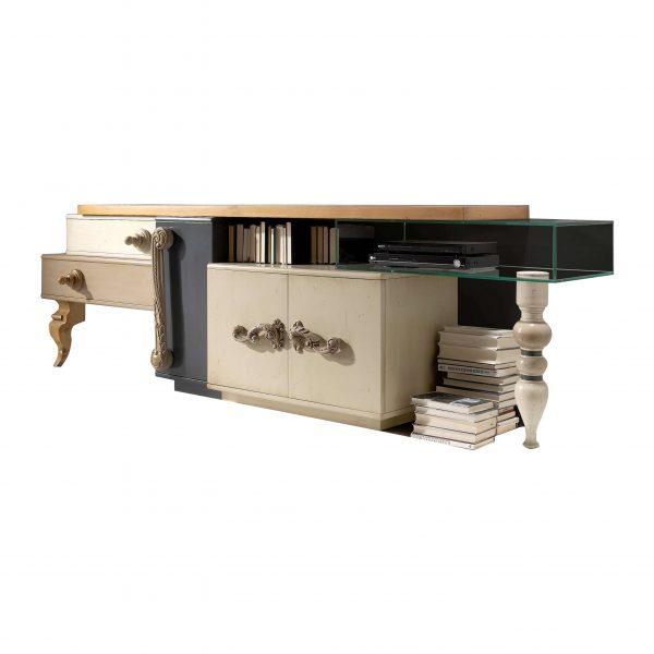 mesa tv londo 3 puertas, 2 cajones y 1 caja de cristal