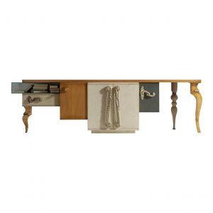 mesa tv london 4 puertas, 1 cajon y 1 caja de cristal