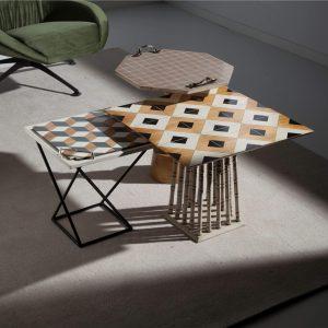 ambiente de mesita medina, tavolino y mesita octogonal