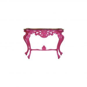 consola rococo acabado en rosa