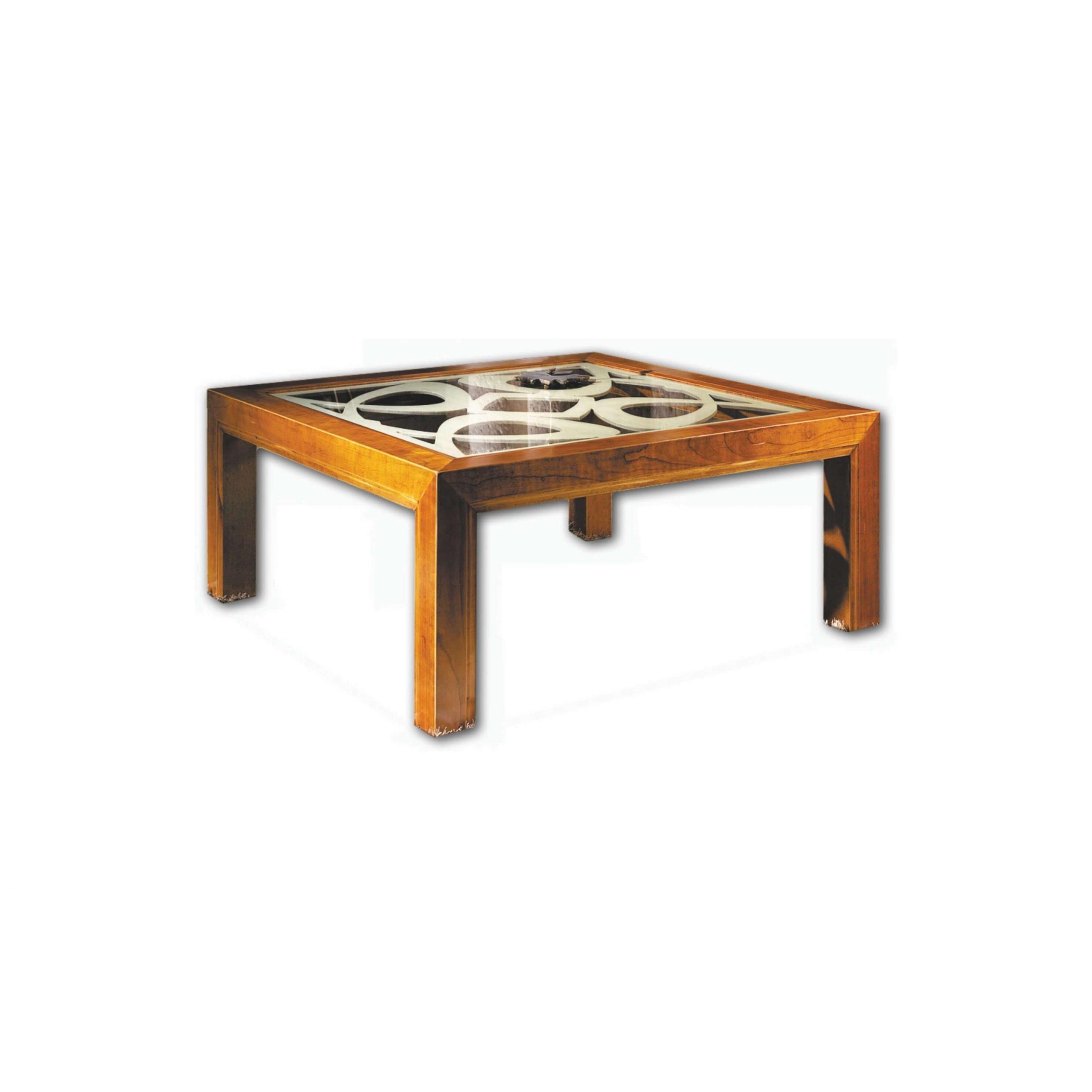 mesa de centro new age acabado en marfil y pardo