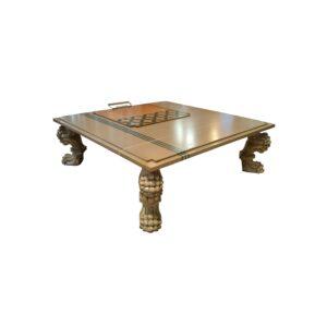 mesa de centro garra acabada en café, gris dorado, plata pátina ya rena