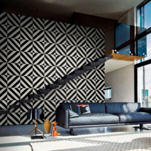 panel de madera diagonal acabado en negro y marfil ambiente