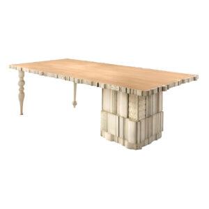 mesa de comedor queen acabado en marfil y arena
