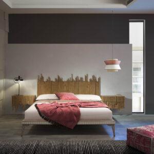 dormitorio con cabecero y mesillas wave